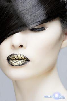 Sugarpill Cosmetics  Incredible Goldilux fishnet lips by MUA Summer Johnson!     Photo: Belles Lumieres  Model: Tomoko Peters