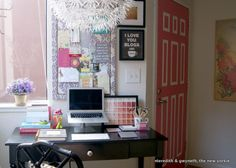 Small home office - love the storage, colors and style!