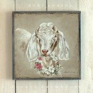 French Farmhouse Goat with Floral Wreath available at www.debicoules.com