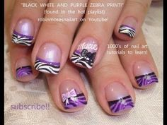 Zebra print nails design Black White and Purple! robin moses nail art tutorial 647 (welcome macie!)