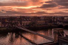 Suspension bridge in Glasgow city - golden hour.