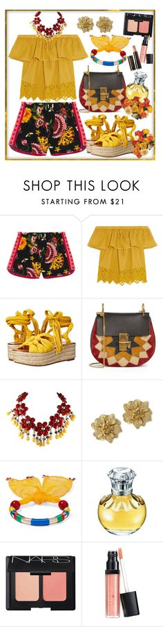 """""""Gucci Garden Exclusive Silk Short"""" by ziandra ❤ liked on Polyvore featuring Gucci, Madewell, Sigerson Morrison, Chloé, Kenneth Jay Lane, Rosantica, NARS Cosmetics and Hourglass Cosmetics"""