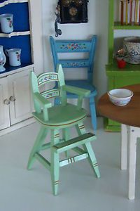 Vintage Tynietoy Doll House Miniature Hand Painted High Chair 1930s in Dolls & Bears, Dollhouse Miniatures, Furniture & Room Items | eBay