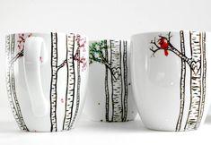 Die vier Jahreszeiten Birch Tree Collection: Winter, Frühling, Sommer und Herbst  4 Große personalisierte Tassen im Winter, Frühling, Sommer