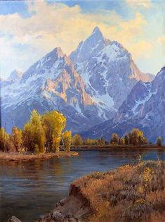 Jim Wilcox, Changing Seasons, Oil on canvas Mountain Paintings, Nature Paintings, Landscape Paintings, Oil Paintings, Oil Painting Gallery, Mountain Waterfall, Natural Structures, Beautiful Landscapes, Architecture Art