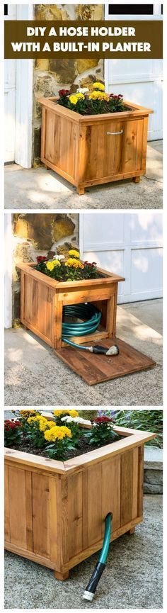 Build a unique hose holder using recycled pallet wood! This holder has a special feature; you can plant your favorite flowers on top. I love it! #recycledpallets