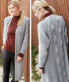 Пальто с узором «Листочки» - схема вязания спицами. Вяжем Пальто на Verena.ru