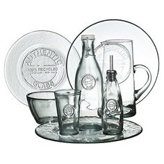 """This is my table ware and I LOVE it!!  """"100% authentic recycled glass"""" is stamped on it and its from Spain.  Best dishes ever ..... it only took 25 years to find these!!"""