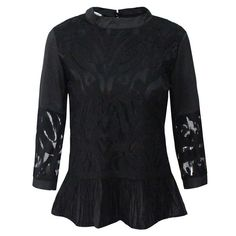Fashion Womens Floral Print Tassel Sheer 3/4 Sleeve Crew Neck Tops Shirts Blouse