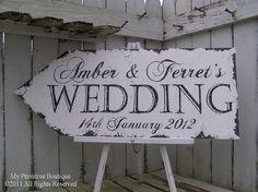 VINTAGE WEDDING ARROW, Casual Wedding, Shabby Chic Wedding, Vintage Wedding Sign...30x12 Directional Arrow