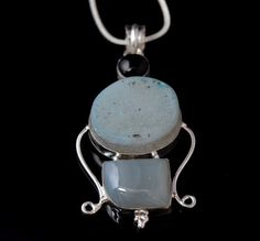 Flashy Titanium Druzy-Botswana Lace Agate-Onyx Pendant With Chain  #15-56 by WhereDidYouBuyIt on Etsy