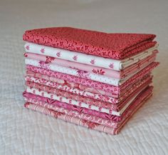 Custom made Fat Quarter Bundle of Pink1800s Reproduction Fabrics by Nauvoo Quilt Co. Cotton Double Pink Civil War Antique Quilt.