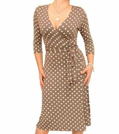Mocha and Ivory Spotted Wrap Dress - £34.99 #womensfashion justblue.com