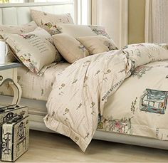 Beautifully Illustrated French Country, Farmhouse Themed (Queen) Cotton, Duvet Cover Set | French Country Home Decor