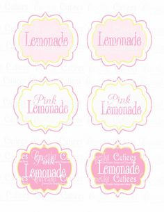 Pink Lemonade  Fancy  Digital BLANK  Table by CupcakeCutieesParty, $3.50
