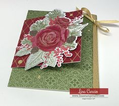 Love making handmade cards? Then you'll love learning how to make a charming Christmas fun fold card. Come watch the video for this DIY Christmas card Christmas Rose, Christmas Time Is Here, Diy Christmas Cards, Christmas Projects, Christmas Greetings, Christmas Fun, Holiday Cards, Winter Rose, Fun Fold Cards