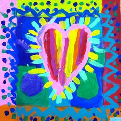 Warm/Cool Heart paintings inspired by the art of Jim Dine (1st grade)