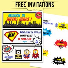 {Free printable} L'invitation Avengers et étiquettes pour enveloppes! Momale Blog Printable Invitations, Minion, Birthday Celebration, Avengers, Creations, Playing Cards, Party, Kids, Free