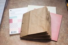 """Paper Bag Mini Album. Saw this at a craft show a while ago and thought """"I could make that!"""" then totally forgot how...."""