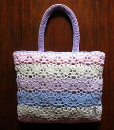 DOWNLOADABLE .PDF CROCHET PATTERN A soft, fresh, roomy tote bag in delicate pastel colors, perfect for carrying around everyday essentials. The lace pouch is made of an elegant crochet fan-motif and has top double shoulder straps. Inspired by the wonderful flowering of Villa Carlotta, on Lake Como. --> Also included in NT BAGS N.2 crochet bag pattern collection.