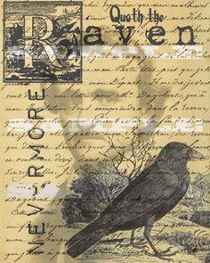 Edgar Allen Poe Quoth The Raven Nevermore, Halloween Decoration Printable