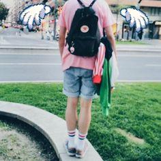 90s aesthetic kawaii boy fjällraven kanken summer outfit ootd urban style nineties Cute pastel vintage fashion pink