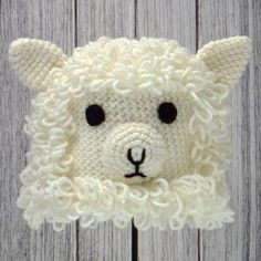 "SHEEP ~ Crocheted Animal Hat ♦ Pattern in ""Amigurumi Animal Hats"" by Linda Wright. http://amazon.com/dp/098009237X/"