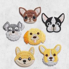 Dog Patches!  Corgi, Shiba Inu, Golden Retriever, Chihuahua, Boston Terrier, and Schnauzer!