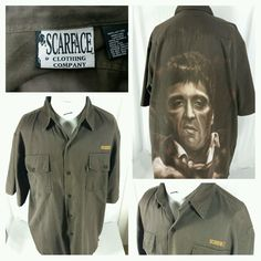 Scarface Clothing Company Tony Montana graphic button shirt Size XL Short Sleeve