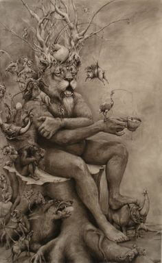 Southern California-based artist Adonna Khare creates incredibly imaginative illustrations of animals whimsically interacting with each other. Art Et Illustration, Illustrations, Pencil Painting, Painting & Drawing, Pencil Drawings, Art Drawings, Scale Drawings, Pencil Art, Awesome Drawings