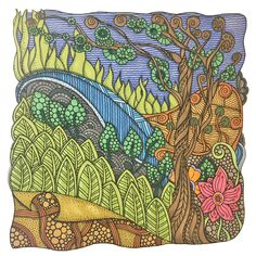 Forest scene - colored by owner Erin Ylvisaker with Bic Mark It and Sharpie permanent markers