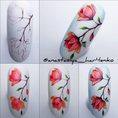 Water Nail Art, Gel Nail Art, Spring Nail Art, Spring Nails, Floral Nail Art, Gel Nail Designs, Nail Decorations, Flower Nails, Nail Tutorials