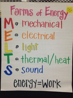 Forms of Energy anchor chart. This is for large groups and individuals. This is for first through third grade based on needs. Fourth Grade Science, Middle School Science, Elementary Science, Science Classroom, Elementary Schools, Classroom Ideas, Science Resources, Science Education, Teaching Science
