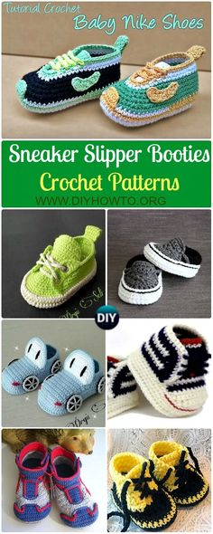 Collection of Crochet Sneaker Slipper Booties Free Patterns & Paid Baby Shoes: Crochet Baby Sneakers, crochet converse baby booties, nike sneakers, vans sneakers, classic sneaker slippers