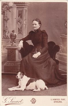 Cabinet Card Photograph Scottish Woman And Terrier Dog  G.Smart Stirling