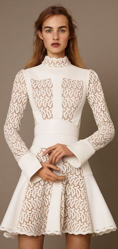 Alexander McQueen Pre-Fall 2015 | white guipure lace long-sleeve day dress