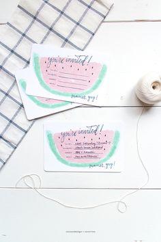 Summer invitation (watermelon style) PRINTABLE INVITES BY COCO & MINGO