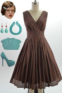 a93547af4b5 50s Style Brown Aqua Polka Dot Bombshell Pinup Surplice Sun Dress w Full  Skirt
