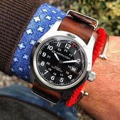 #Regram of @hzonur. The leather NATO looking excellent on the #Hamilton Khaki Field automatic.  #womw #watchonmywrist #watchesofinstagram #watchcollecting #watches #wristshot #instawatch #wis #swissmade #wruw #affordablewatches #watchfam #natonation