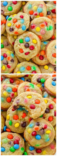 Thick and Chewy Bite-Sized M&M Cookies are easy, delicious, and sure to be a hit! We love this recipe for a birthday party.