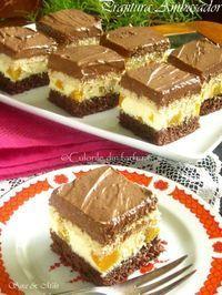 Prajitura-Ambasador-4 Sweets Recipes, Just Desserts, Baking Recipes, Cake Recipes, Romanian Desserts, Romanian Food, Homemade Cakes, Desert Recipes, Sweet Treats