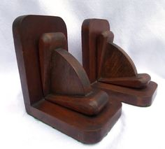 Wooden Bookends Art Deco Hand Carved Mahogany by BlackSquirrelHome