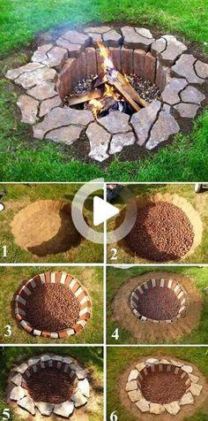 Diy Fire Pit, Fire Pit Backyard, Fire Pits, Backyard Fireplace, Design Cour, Landscape Design, Garden Design, Garden Art, Herbs Garden