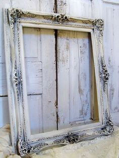 Huge cream distressed ornate picture frame shabby French provincial muted wall decor  Anita Spero. $290.00, via Etsy. by Gloria Garcia