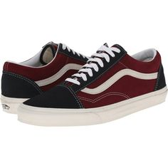 Vans Old Skool Stars/Stripes) Skate Shoes, Red ($45) ❤ liked on Polyvore featuring shoes, red, red lace up shoes, traction shoes, laced shoes, striped shoes and leather shoes