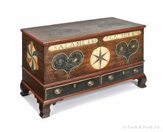 """Pook & Pook. 4/20/13.  Lot 536.  Estimated: $12K - $18K. Realized Price: $22,515. Vibrant Lehigh County, PA. painted dower chest, inscribed Salame Gaumerrin 1809, having two hearts on the lid which repeat on the front panel, centering a six-pointed star over 2 stippled drawers, the end panels with 3 color philphlots.  Ogee bracket feet. 30 1/4"""" h., 47 3/4"""" w., 22 1/4"""" d. For a similar example, see Fabian, The Pennsylvania German Decorated Chest, pg. 176, figure 180."""