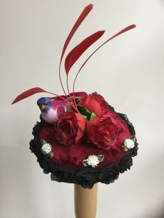 Red roses bird fascinator. by talulahblue on Etsy