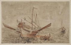 Attributed to Filippo D'Angeli, called Napoletano, (c. 1589-1629). Study of men rigging an Italian galley, pen and ink on laid paper, heightened with ochre chalk,