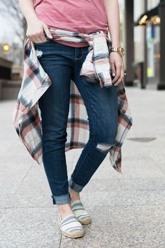 .styling a simple v neck .. two ways.styling a simple v neck .. two ways. vs pink v neck, tory burch espadrille flats, plaid abercrombie top, tied at the waist, fossil watch, fashion blogger