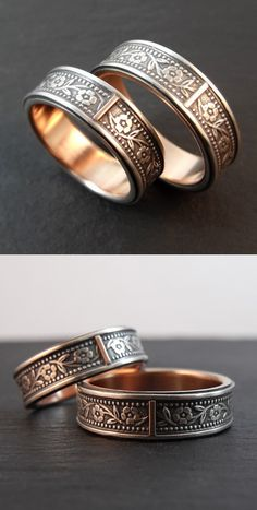 Floral Petunia wedding band set. Sterling silver inlay with 14k rose gold lining and accent tab. Handmade by Chuck Domitrovich of Down to the Wire Designs.